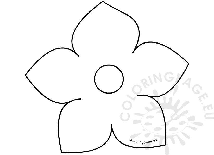 Printable Five Petal Flower Template