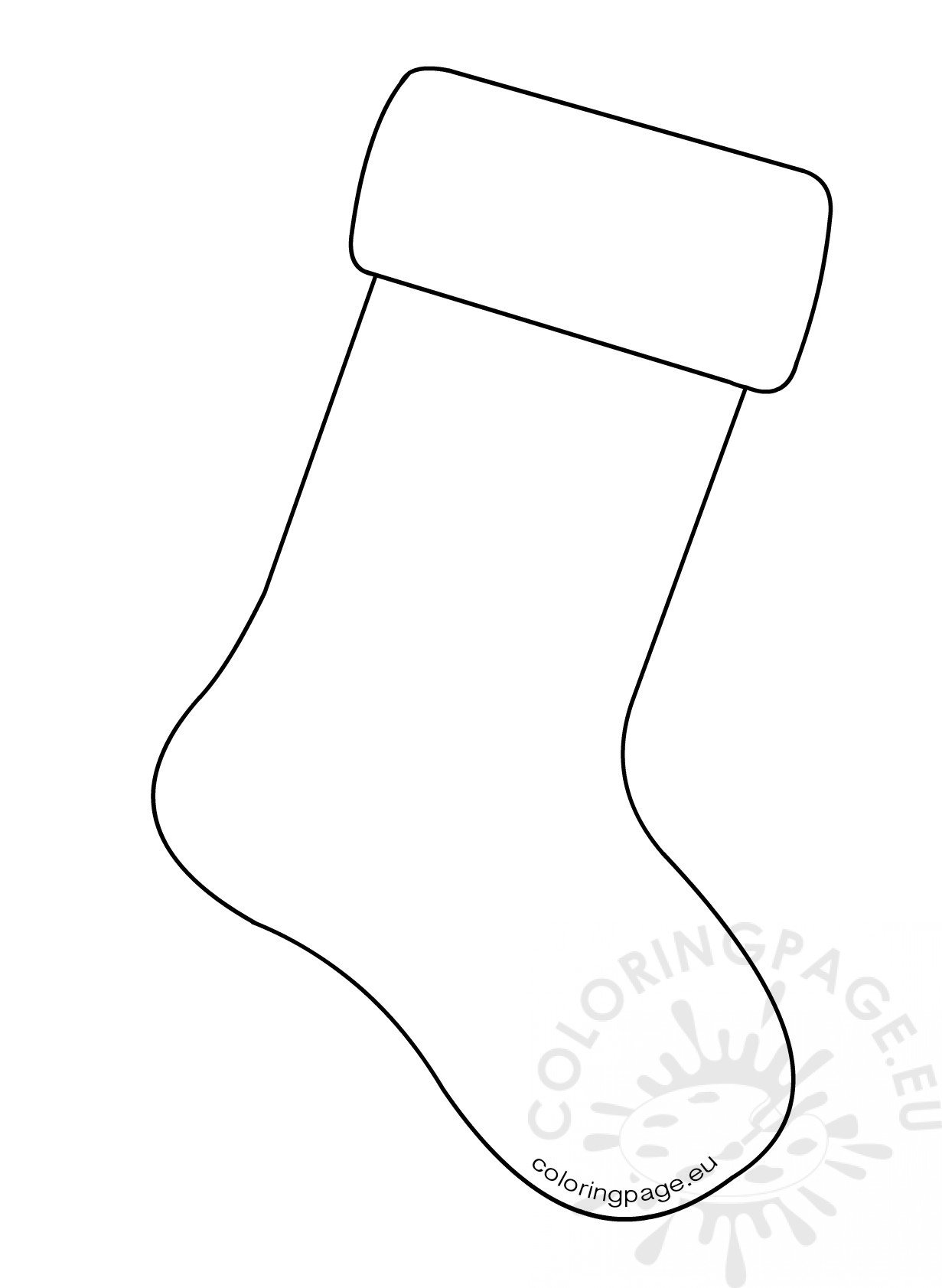 Christmas Stocking Template Large Coloring Page