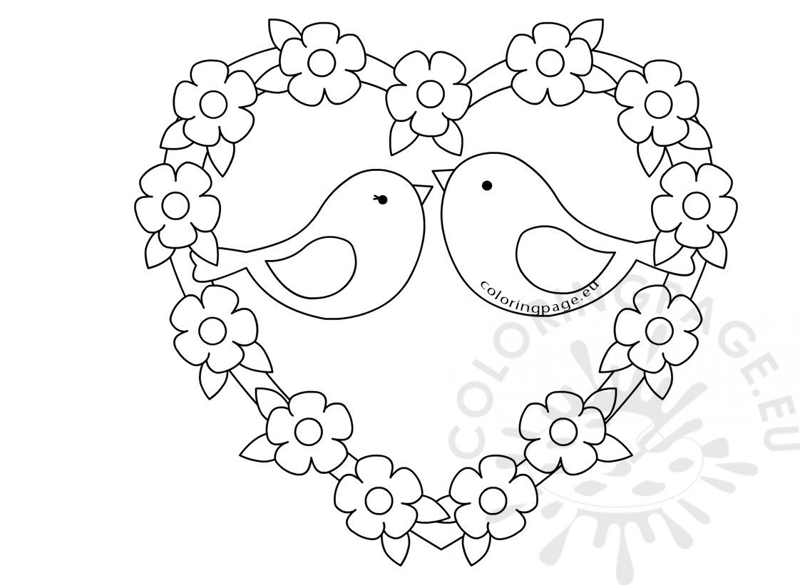 Two birds sketch with love heart