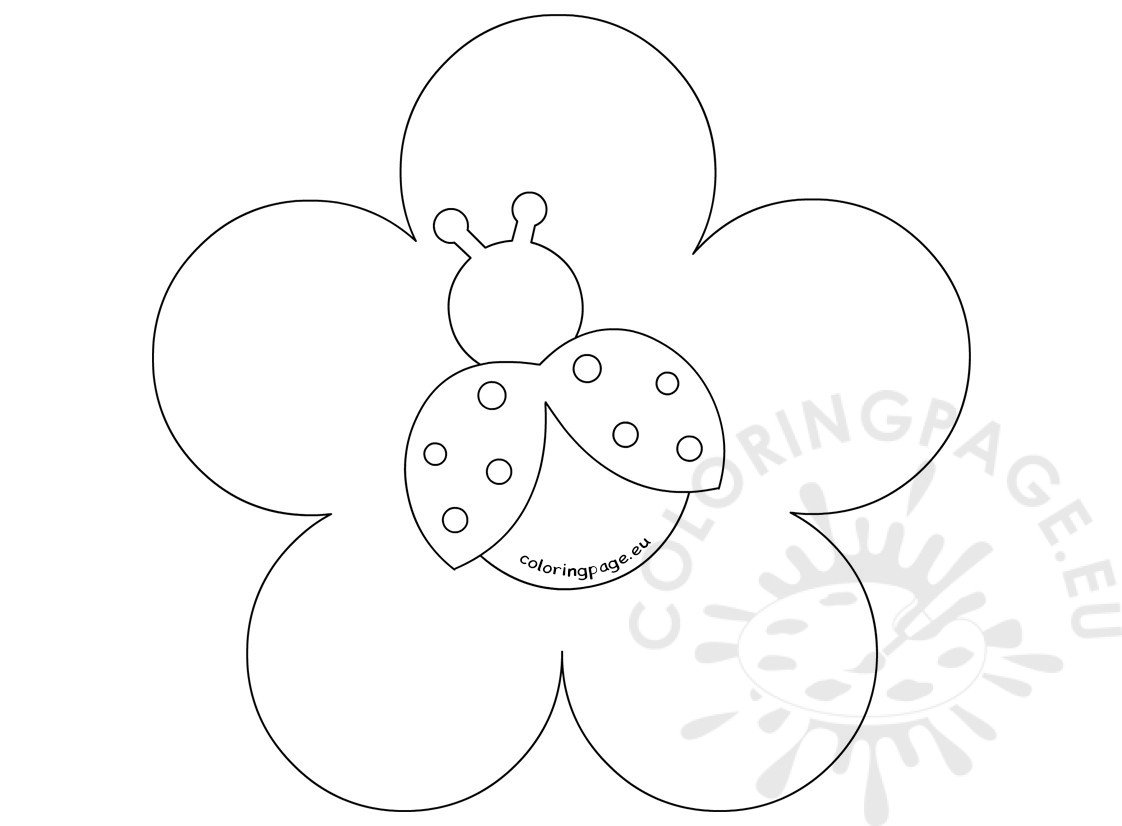 Ladybug And Flowers Coloring Page Sketch Coloring Page
