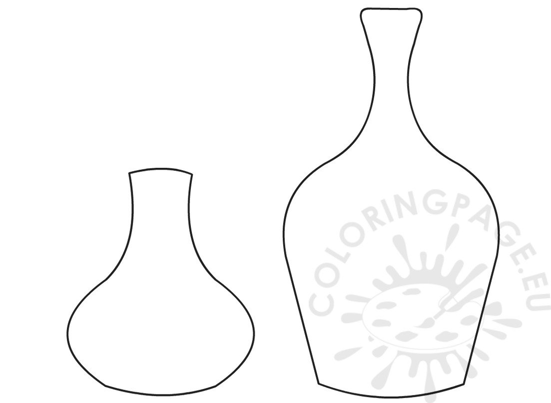 Printable Flower Pot Shapes Coloring Page