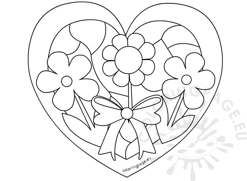 Black and white Flowers Heart Shape Pattern