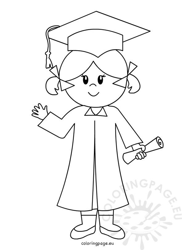 Happy Graduate girl line drawing