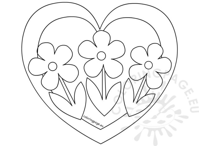 Heart with three flowers coloring page – Coloring Page