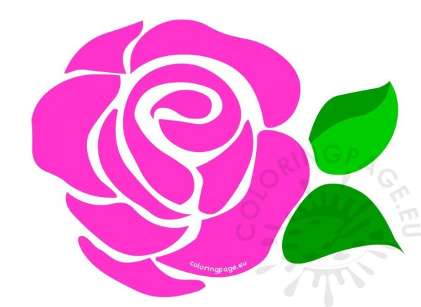Large Pink Rose Clip Art Coloring Page