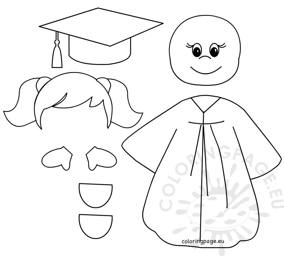 Preschool Graduation Girl templates – Coloring Page | coloring pages for kindergarten