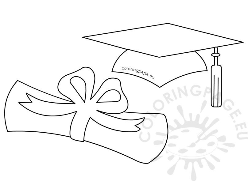 Graduation Cap Coloring Page And Diploma Pages Auto