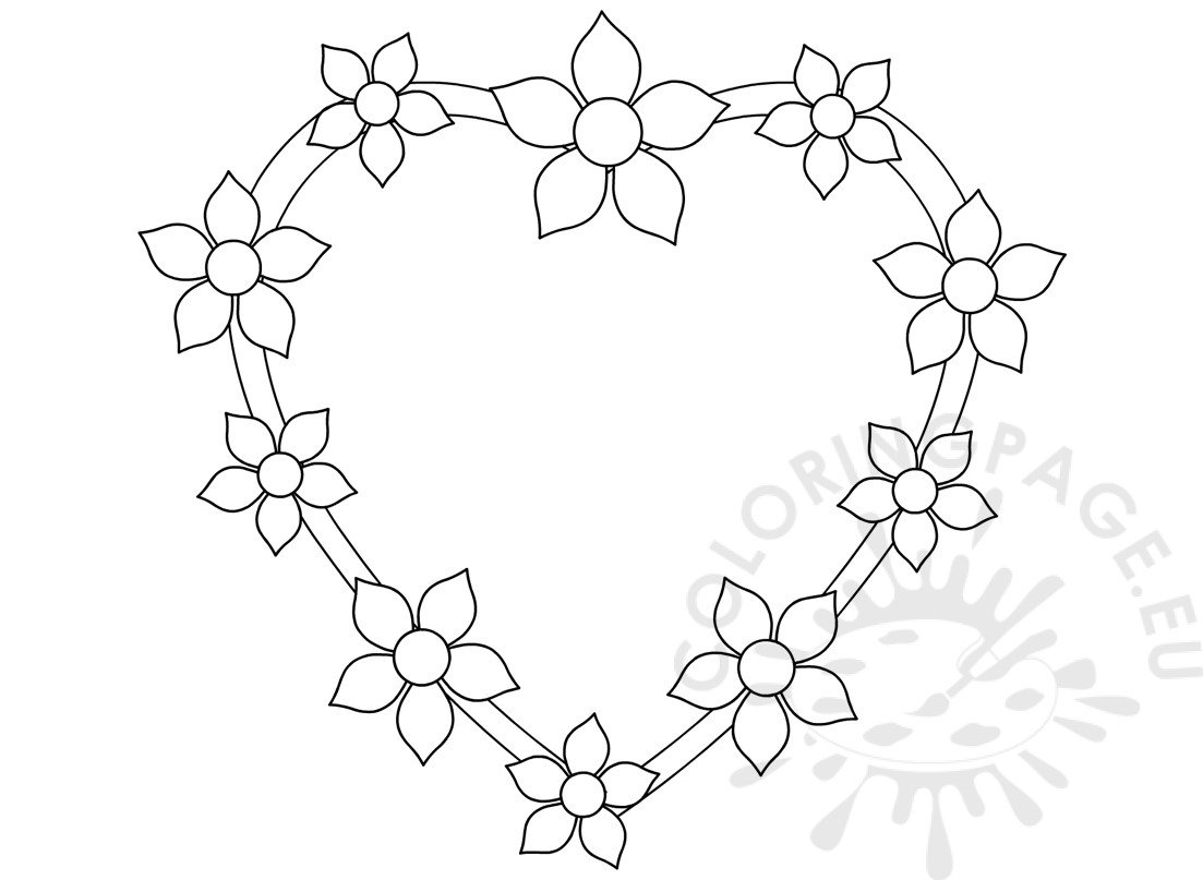 Heart with flowers design template