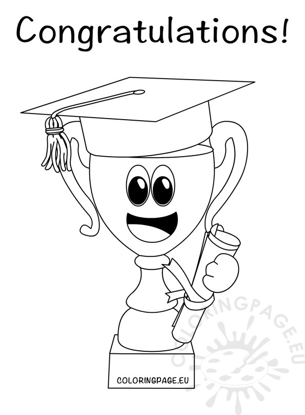Congratulations Graduate Trophy cup with hat graduation