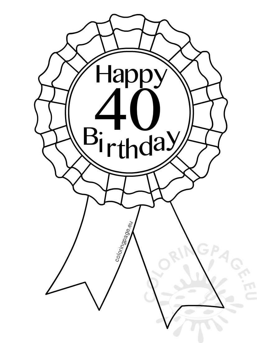 hight resolution of coloring pages for 40th birthday