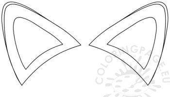 orange fox ears clipart coloring page