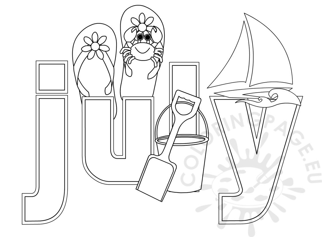 Summer Month July Coloring Sheet Coloring Page