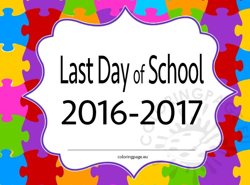 last day of school  printable – coloring page