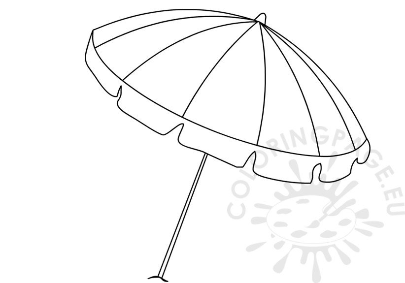 Summer colouring pages Open Rainbow beach umbrella
