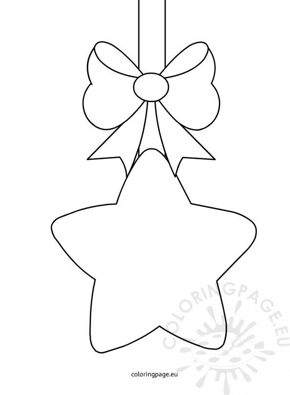 Christmas star with bow template