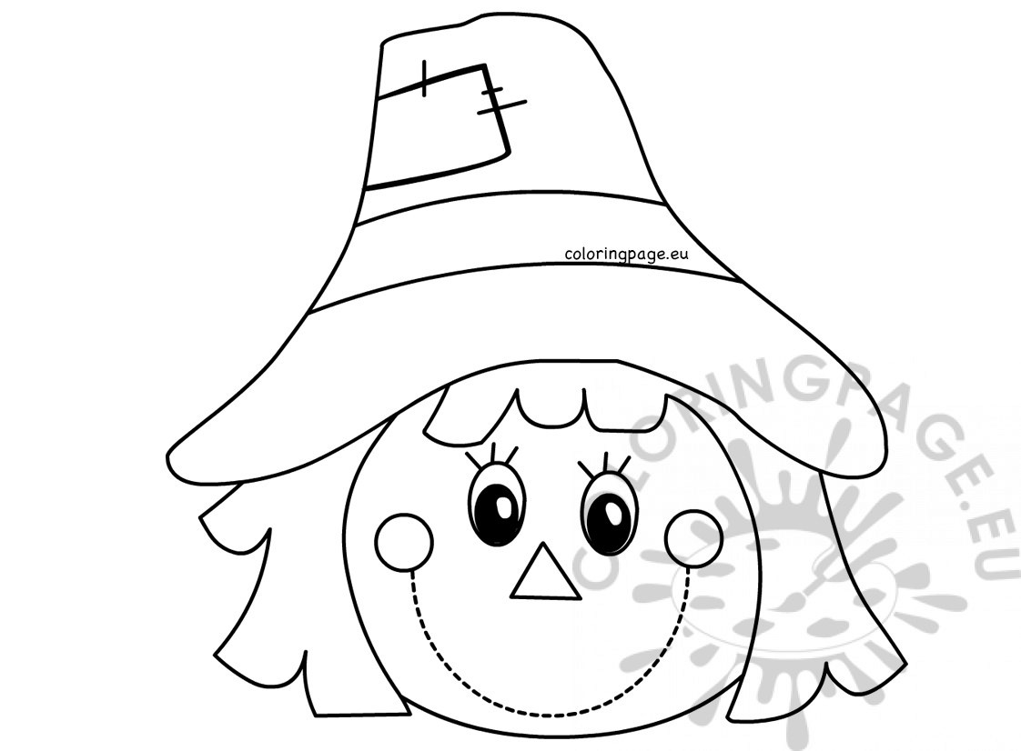 Autumn coloring page Scarecrow face