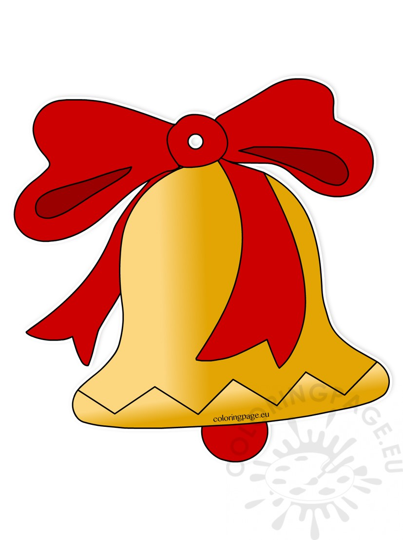 Christmas Bell With Red Bow Coloring Page