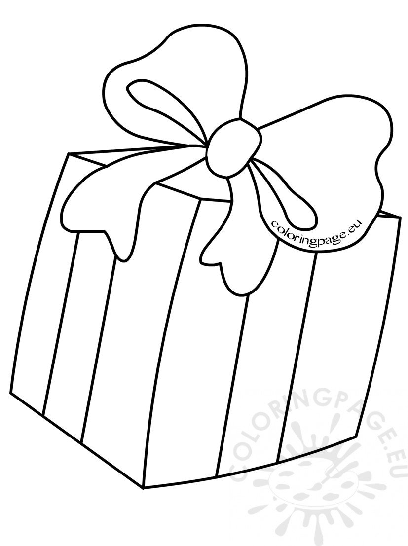 Kids Coloring Pages Gift box with bow