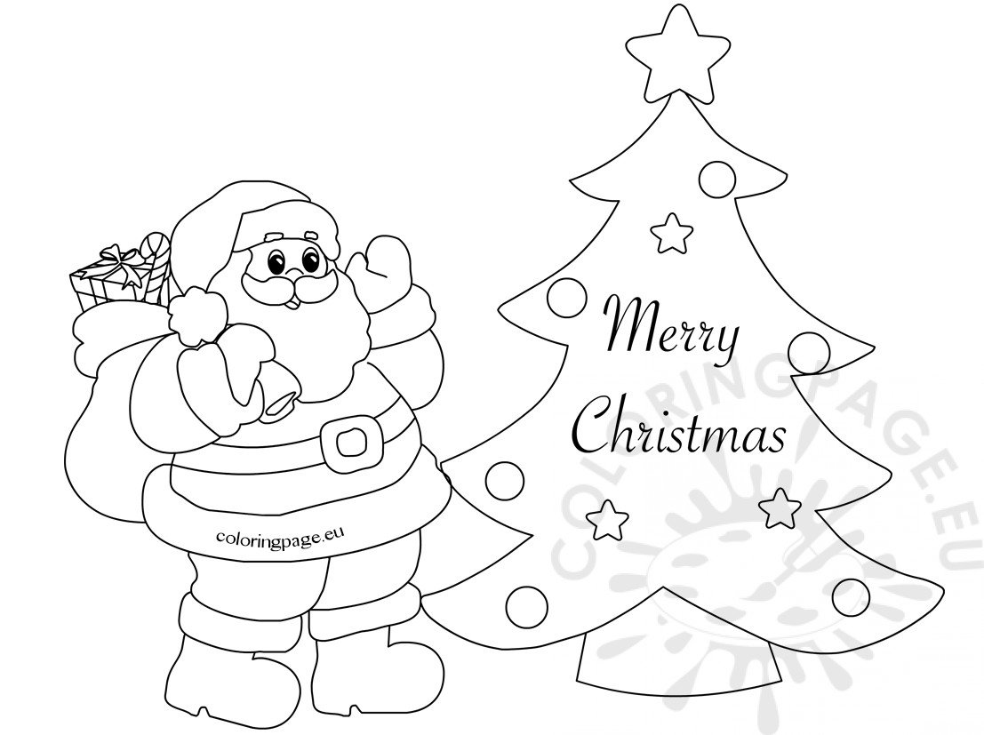 Merry Christmas Card With Cute Santa Coloring Page