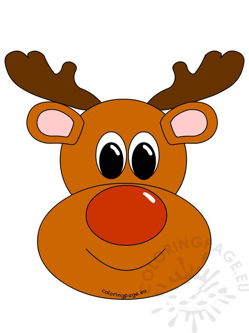 Rudolph Reindeer Face Image Coloring Page