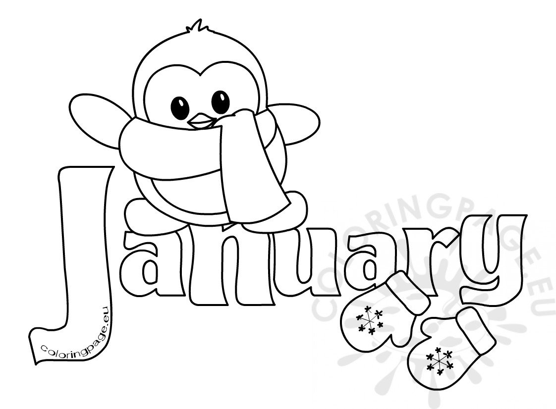 Winter Month Of January Clipart Kid Coloring Page