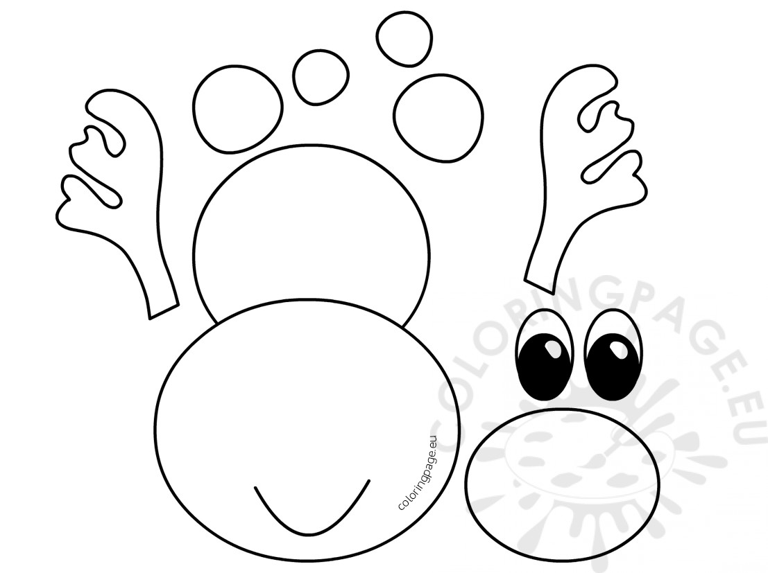 Reindeer Head Pattern Clipart Coloring Page