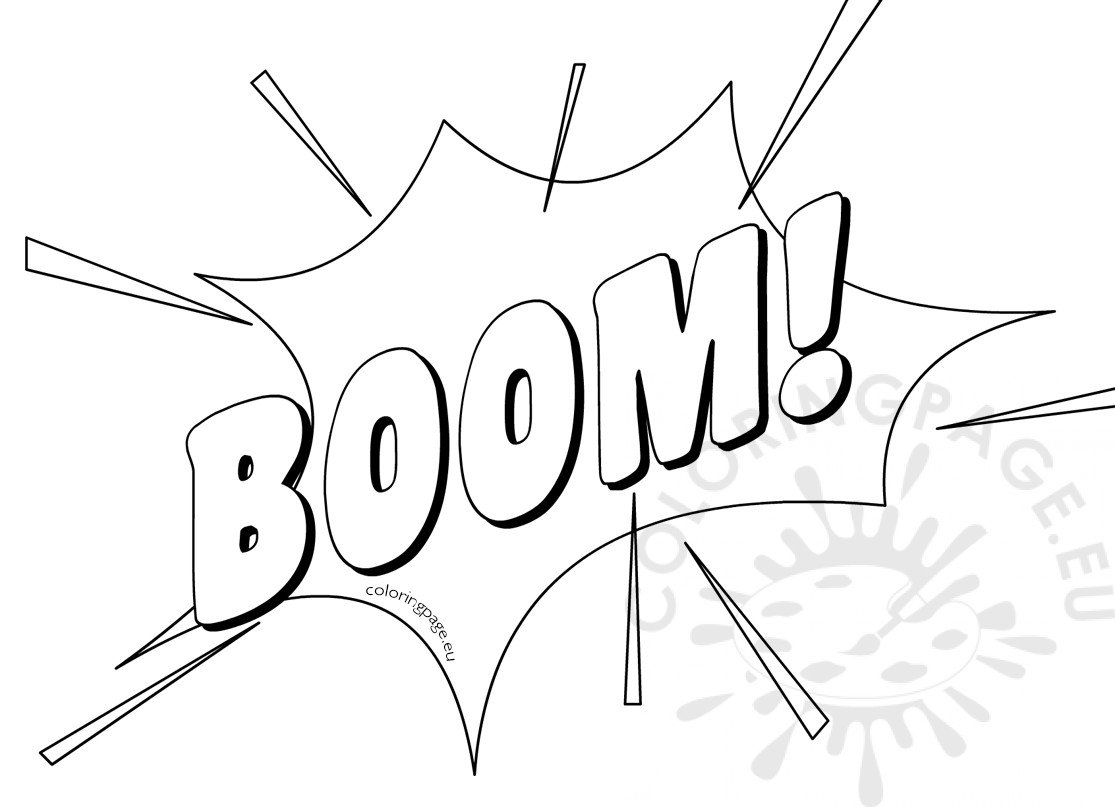 Black and white cartoon boom explosion
