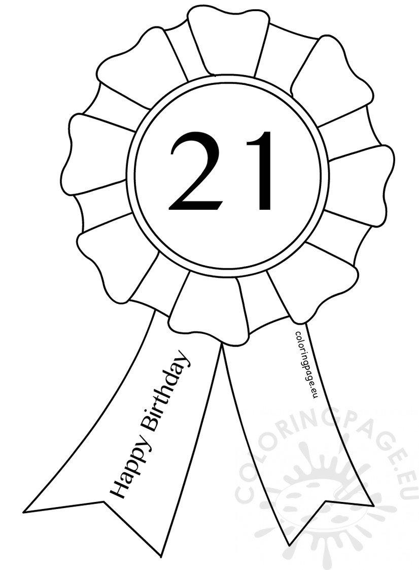 21st Birthday Award Ribbon template