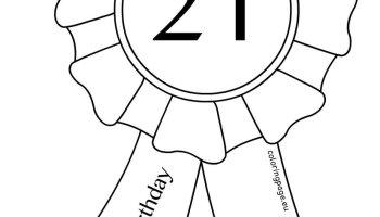 Printable 21st Birthday Award Ribbon – Coloring Page