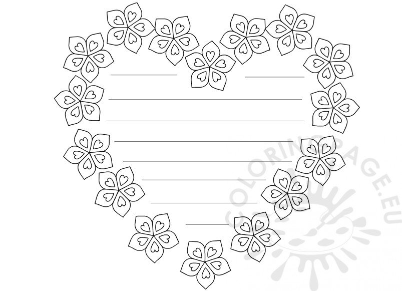 Heart with flowers writing paper printable