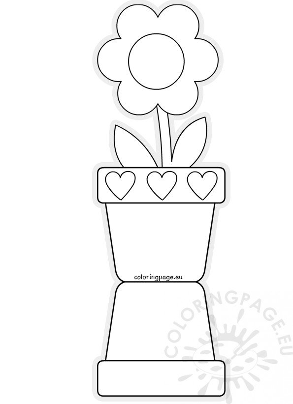Flower pot shaped card template Mother's Day