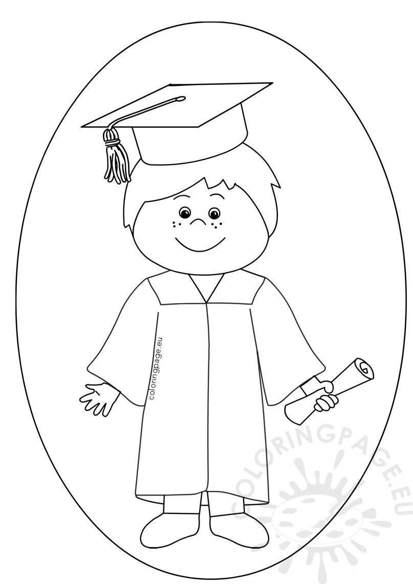Boy celebrating graduation day clipart