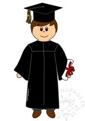 Cartoon student boy graduate image Coloring Page