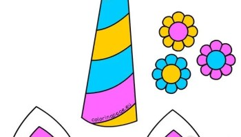 Unicorn Horn Ears And Flowers Template Coloring Page