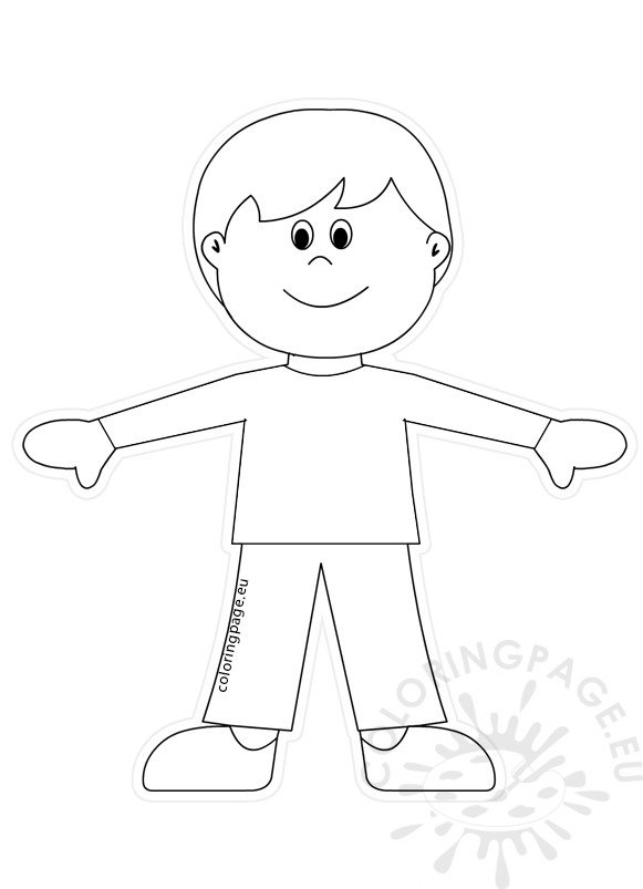 Boy Cutting Twine Colouring Pages Sketch Coloring Page