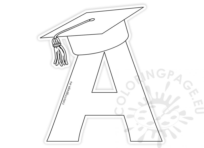 Letter A with graduation cap template