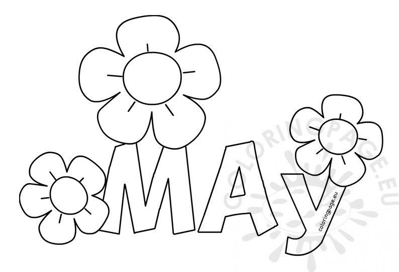 May printable month coloring sheet