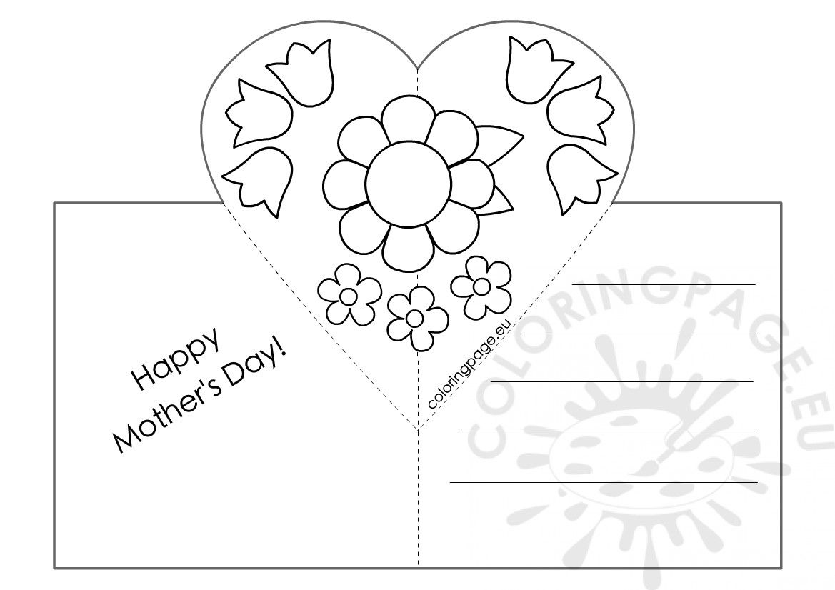 Mothers Day Card with Heart Pop-Up template