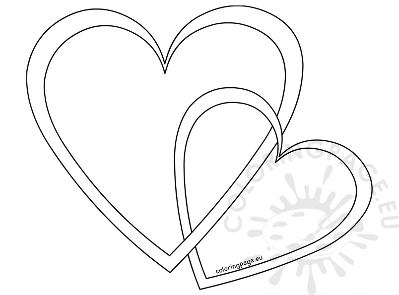 Two outline vector hearts