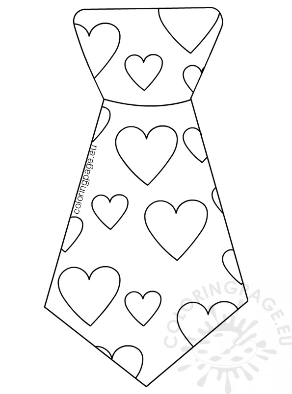 Tie with hearts coloring page Father's day