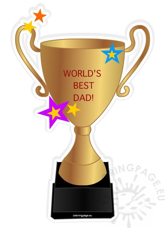 Worlds Best Dad Trophy Clipart Coloring Page