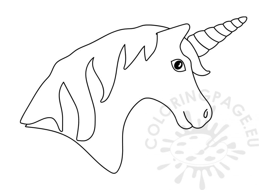 Printable Unicorn head with rainbow horn