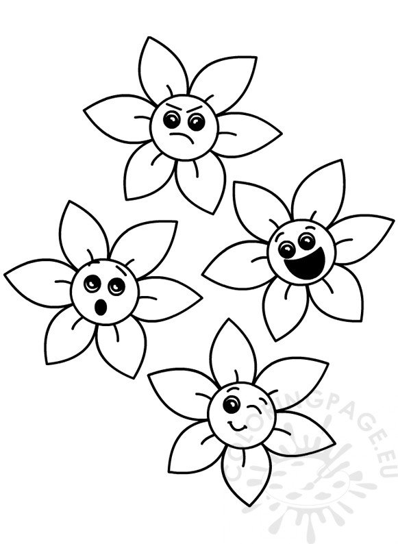 Printable Flower emotions clipart