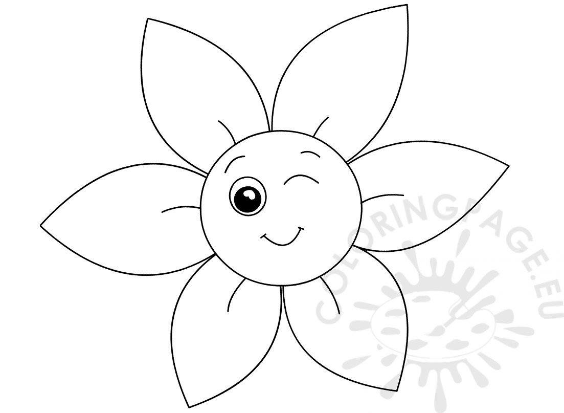 Smiley Flower Coloring Book Coloring Page