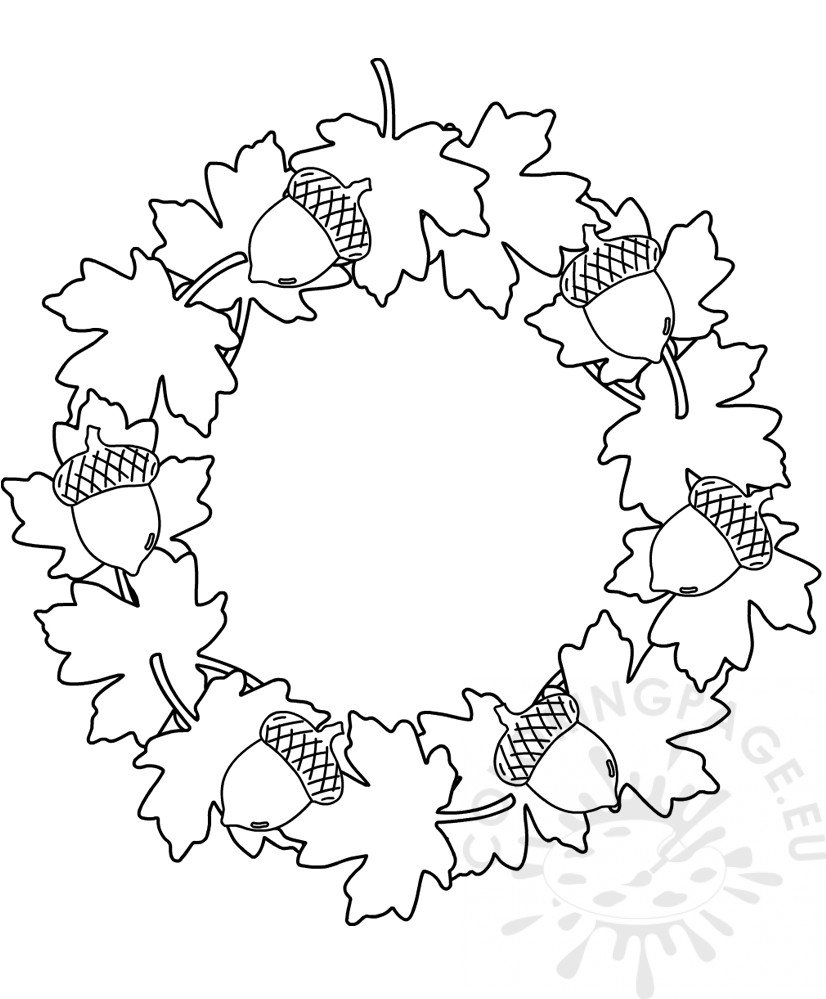 Wreath with leaves and acorns template