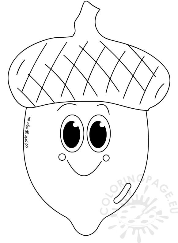 Cute smile acorn cartoon vector image