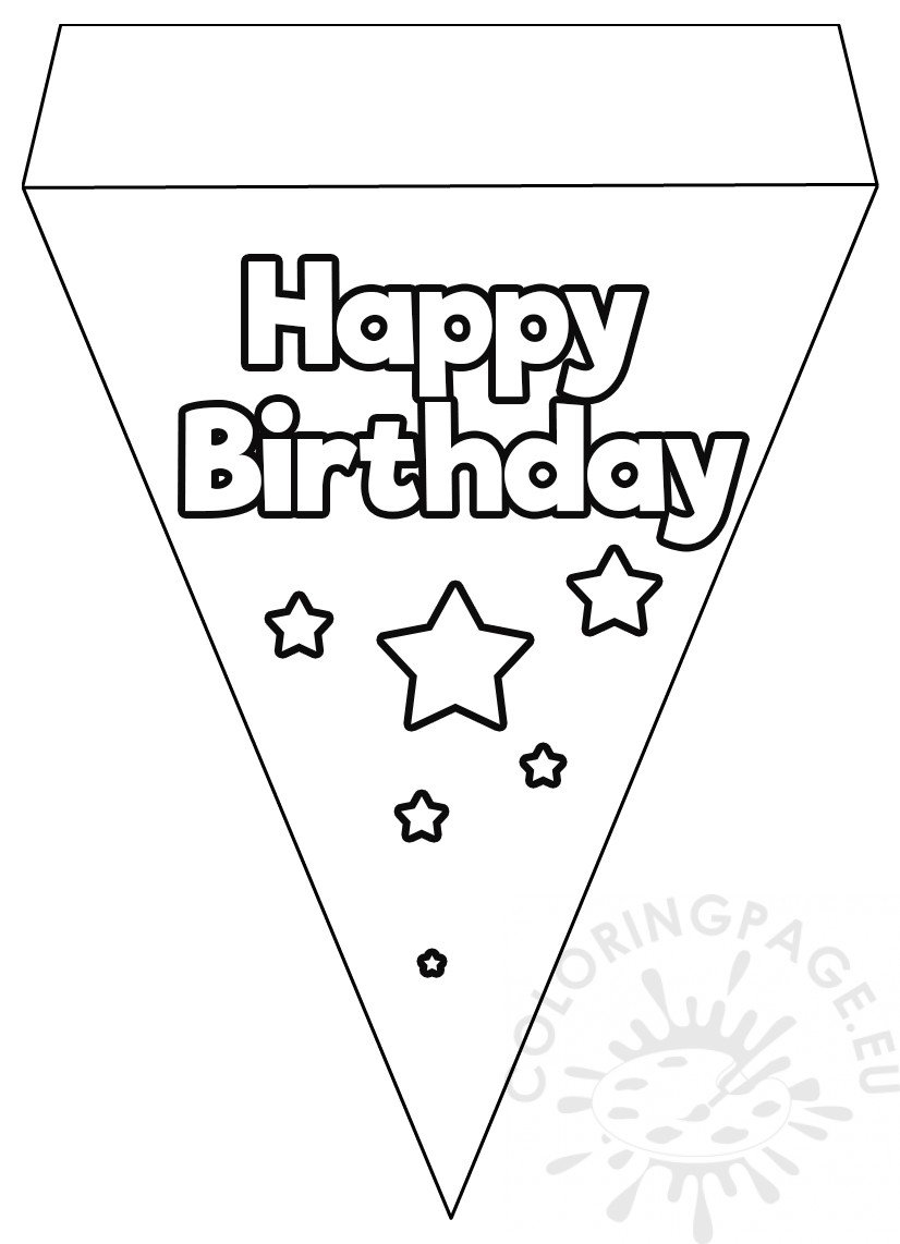 Happy birthday flag banner template coloring page, fish coloring pages