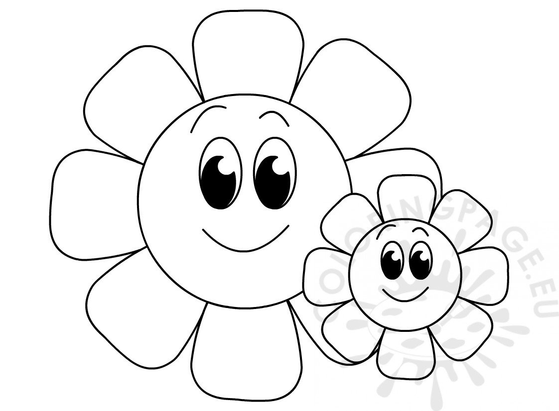 Big And Small Flowers Printable Coloring Page