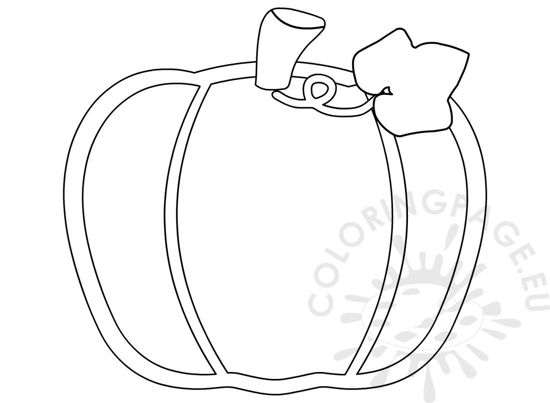 Simple Pumpkin With Leaf Drawing Printable Coloring Page