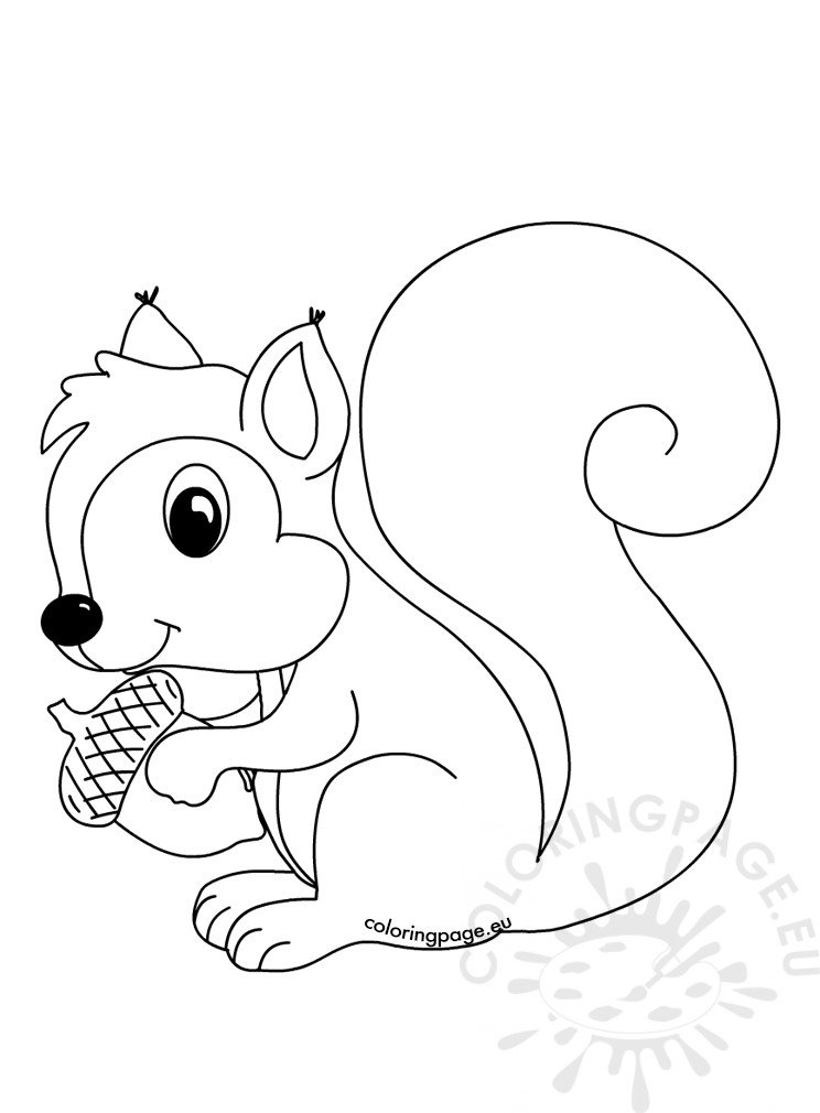 Forest animals coloring page Squirrel with acorn